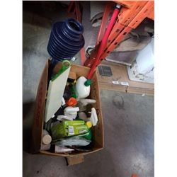 Box of cleaning fluids and swiffer