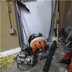 STIHL BACKPACK BLOWER, SILENCER ELECTRIC BOAT MOTOR BOTH NEED WORK AND BALDOR ELECTRIC MOTOR