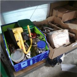 2 Boxes of various tools, trailer coupler and more