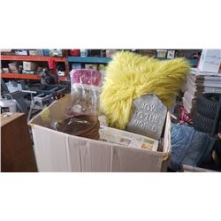 BOX OF FUZZY PILLOW, CHRISTMAS DECOR AND MORE