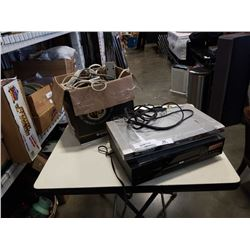 2 DVD PLAYERS AND BOX OF VARIOUS EXTENSION AND CHARGING CORDS