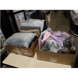 2 boxes of new couch covers, curtains, visors and more