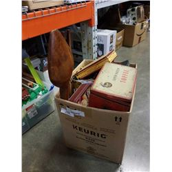 BOX OF COLLECTOR TINS, LARGE WOOD SPOON AND FORK AND KITCHEN ITEMS