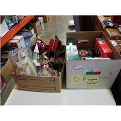 2 SMALL BOXES OF CHRISTMAS ORNAMENTS AND DECORATIONS