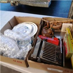 2 boxes of collectible plates, antique toaster, spinning wheel and more