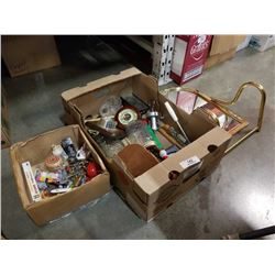 BOX OF COLLECTABLES, BAROMETERS, MIRROR