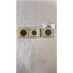 3 BRITISH CARIBBEAN TERRITORIES COINS - 1955  50 CENT, 1965  2 CEMT, 1955  5 CENT