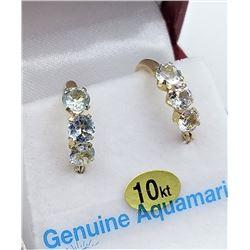 10KT YELLOW GOLD GENUINE AQUAMARINE HOOP EARRINGS - RETAIL $500, 1.2CTS AQUAMARINE, BIRTHSTONE MARCH