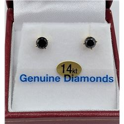 14KT YELLOW DIAMOND STUD EARRINGS - RETAIL $945 - 0.2CTS DIAMOND