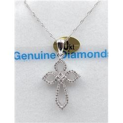 10KT WHITE GOLD DIAMOND CROSS PENDANT W/ 18IN CHAIN W/ APPRAISAL $2095 - 66 DIAMONDS (.20CT)