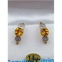 14KT YELLOW GOLD GENUINE CITRINE AND DIAMOND HOOP EARRINGS - RETAIL $800, CITRINE BIRTHDAY STONE NOV