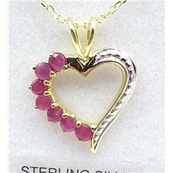 STERLING SILVER YELLOW GOLD PLATED GENUINE RUBY HEART PENDANT W/ STERLING GOLD PLATED CHAIN W/ APPRA