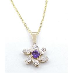 9KT YELLOW GOLD 3MM GENUINE AMETHYST AND CZ PENDANT W/ YELLOW GOLD PLATED STERLING CHAIN W/ APPRAISA