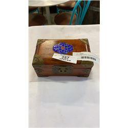 WOOD AND BRASS JEWELLERY BOX W/ JEWELLERY - BEADED, BONE, CLOISONNE, ETC