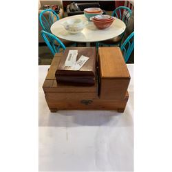 4 WOOD JEWELRY BOXES OF JEWELRY