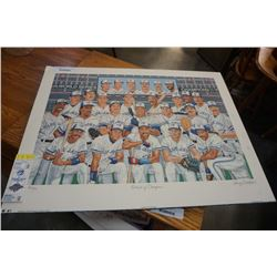 LARRY EISENSTEIN LIMITED EDITION PRINT PORTRAIT OF CHAMPIONS BLUEJAYS 1992 WORLD SERIES PRINT WITH T