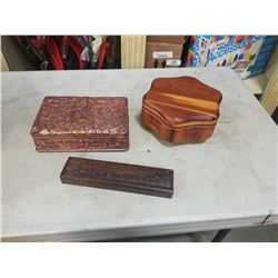 2 carved decorative wood boxes one for chopsticks