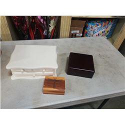 3 decorative wooden boxes