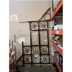 LARGE ARCHITECTURAL OUTDOOR SCREEN DIVIDER WITH FLAG HOLDER APPROX 10 FOOT TALL, 64 INCHES WIDE