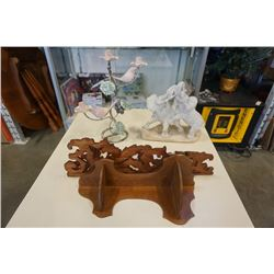 Elephant statue, bird candleabra and wooden corner shelves