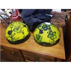 2 HAND PAINTED GLASS DOMES