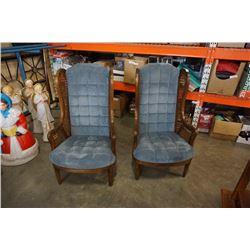 TWO WOOD FRAMED WINGBACK CHAIRS