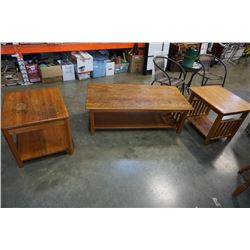OAK COFFEE TABLE AND 2 ENDTABLES