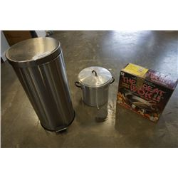 STEAMER POT, WOK AND STAINLESS WASTE BIN
