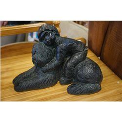 Dark jade green puppy love II statue