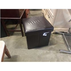 Brown storage ottoman with lid and folding tv tray