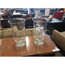 2 LARGE GLASS VASES