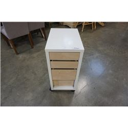 WHITE AND MAPLE 3 DRAWER STAND