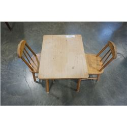 WOOD KIDS TABLE AND 2 CHAIRS