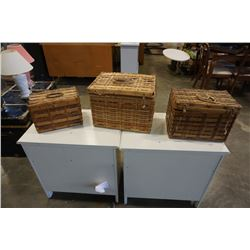 3 antique nesting picnic baskets