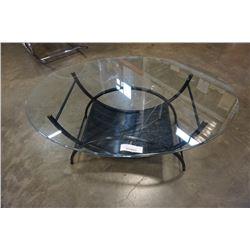 GLASSTOP METAL BASE COFFEE TABLE
