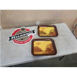 2 VINTAGE COCA COLA TRAYS AND RUSSELL BREWING METAL SIGN