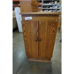SMALL OAK LIGHTED CABINET