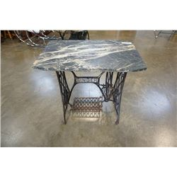 Marble top singer sewing table with trestle base