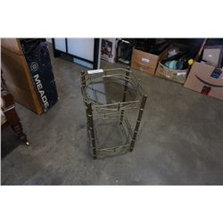 BRASS AND GLASS SIDE TABLE MISSING ONE PIECE OF GLASS