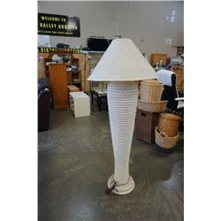 TALL POTTERY FLOOR LAMP - APPROX 5 FOOT TALL WITH SHADE