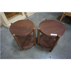 PAIR OF ROUND IKEA 2 TIER ENDTABLES