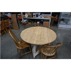ROUND FARM TABLE AND 4 SPINDLE BACK CHAIRS