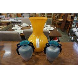 3 art glass vases