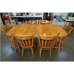 MAPLE DINING TABLE WITH 2 LEAFS AND 6 CHAIRS