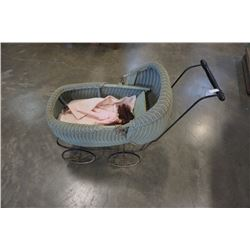 VINTAGE DOLL CARRIAGE WICKER