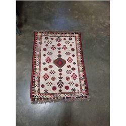 Handmade carpet runner with tassels 2.5' x 3.5'