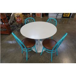 ROUND WHITE PEDESTAL TABLE WITH 4 TEAL CHAIRS