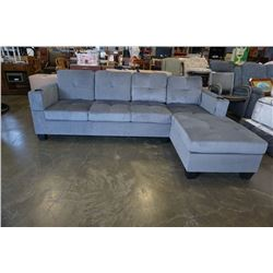 BRAND NEW GREY FABRIC 2 PC SECTIONAL SOFA WITH CUPHOLDERS, AND REMOVABLE PILLOW BACKS, RETAIL $1299