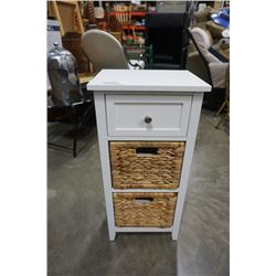 WHITE AND WICKER 3 DRAWER STAND