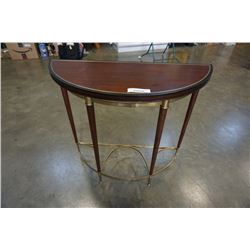 ORIENTAL ACCENT BRASS AND WOOD D TABLE